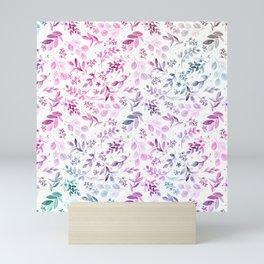 Modern pink lavender teal watercolor botanical floral Mini Art Print