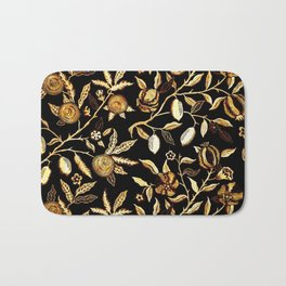 Pomegranate Pattern Gold On Black Bath Mat
