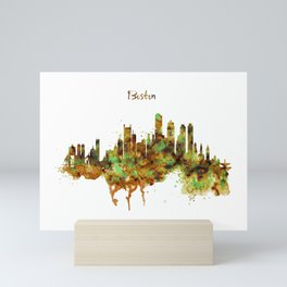 Boston watercolor skyline Mini Art Print