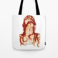 blood Tote Bags featuring Blood by Raquel C. Hita - Sednae