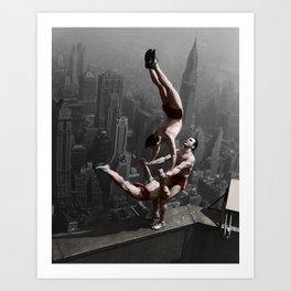 Colourised: Empire State Acrobats Art Print