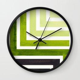 Sap Green Mid Century Modern Watercolor Colorful Ancient Aztec Art Pattern Minimalist Geometric Patt Wall Clock