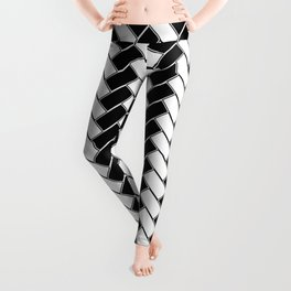 Black and White Herringbone Leggings