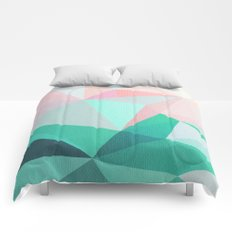 Geometric Landscape - Pink and Green Comforters