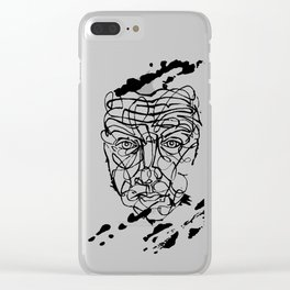 Abstract Ink Face Clear iPhone Case