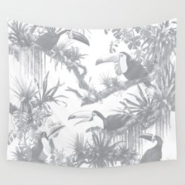 Toucans and Bromeliads - Sharkskin Grey Wall Tapestry