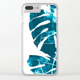 Monstera Leaf Blue Clear iPhone Case