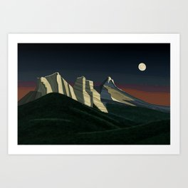 The Three Sisters and the Moon Art Print