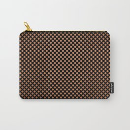 Black and Caramel Polka Dots Carry-All Pouch