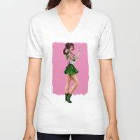 sailor jupiter V-neck T-shirts featuring Sailor Jupiter by KlsteeleArt