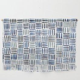 Indigo Crosshatch Pattern Wall Hanging