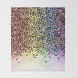 rainbow of butterflies aflutter Throw Blanket
