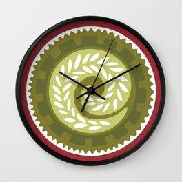 Christmas Red & Green Geometric Floral Polynesian Pattern Wall Clock