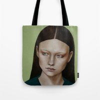 dahlia Tote Bags featuring Dahlia by Kalynn Burke
