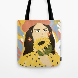 Sunflowers In Your Face Tote Bag