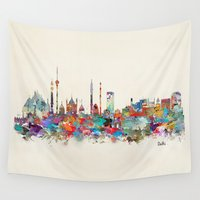 india Wall Tapestries featuring Delhi india skyline by bri.buckley