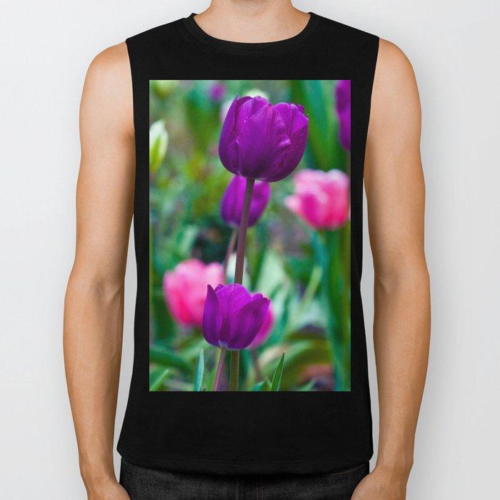 Colorful Tulips Biker Tank