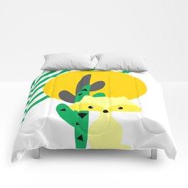 Cute fox in the desert Comforters