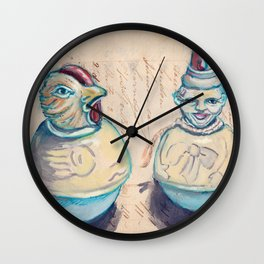 Vintage Celluloid Rollie Pollies in Mixed Media Wall Clock