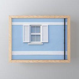 White on blue Framed Mini Art Print