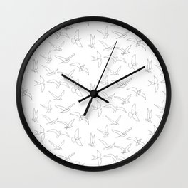 flock - linear birds pattern Wall Clock