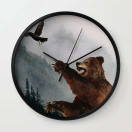 The Trickster - Raven & Grizzly Bear Art Print Wall Clock