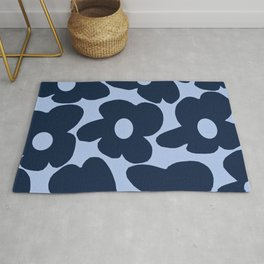 Large Dark Blue Retro Flowers Baby Blue Background #decor #society6 #buyart Rug