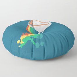 Fat Unicorn on Rainbow Jetpack Floor Pillow