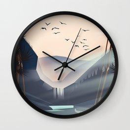 Cartoon landscape in the evening. Wall Clock
