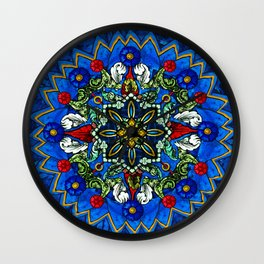 Lighted Rose Window Collage Wall Clock