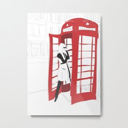 London Calling Fashion Phone Booth Girl Metal Print