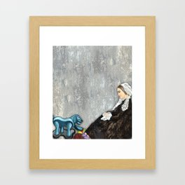 Woman with Robotic Dog Framed Art Print