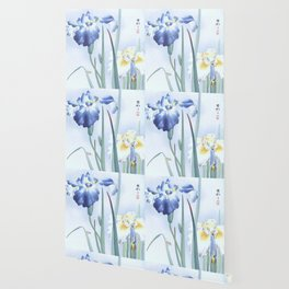 Bee And Blue Iris Flowers - Vintage Japanese Woodblock Print Art By Ohara koson Wallpaper