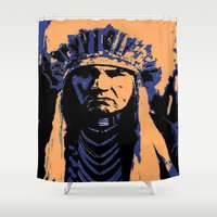 native american Shower Curtains featuring Native American Head Dress  by T.E.Perry