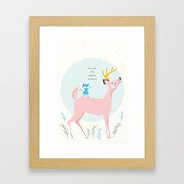 Deer and Mouse Singing Framed Art Print