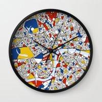 mondrian Wall Clocks featuring London Mondrian by Mondrian Maps