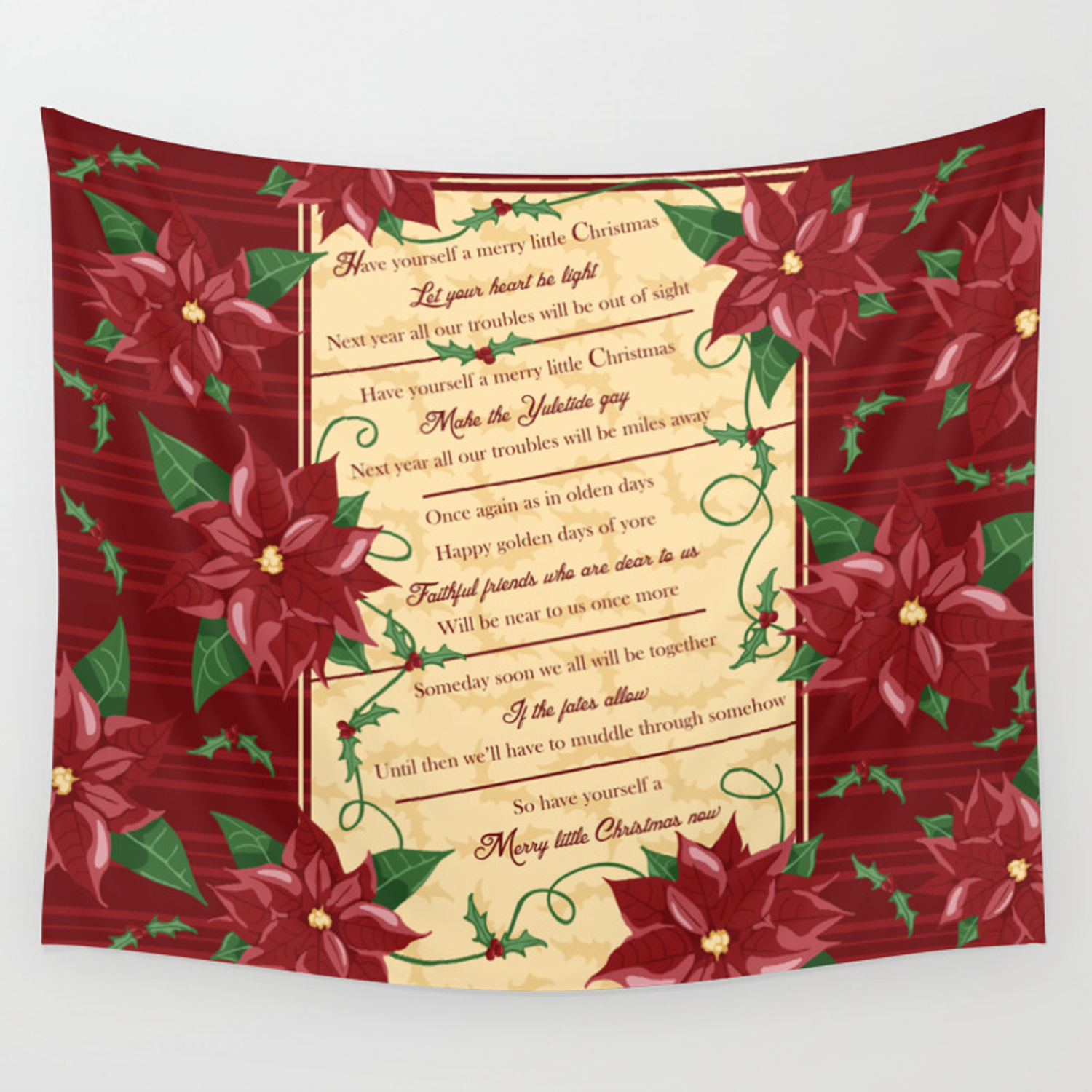 Merry Little Christmas Wall Tapestry By Tewdream Society6