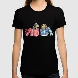 Beagles, Bows & Boxes on Cream T-shirt