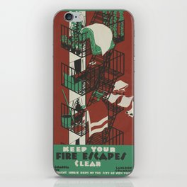Vintage poster - Keep Your Fire Escapes Clear iPhone Skin