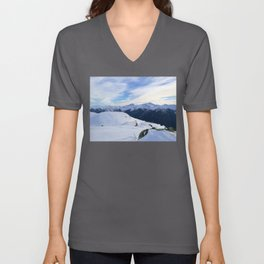 The snowy rocks at mountain tops Unisex V-Neck