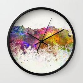 Porto skyline in watercolor background Wall Clock