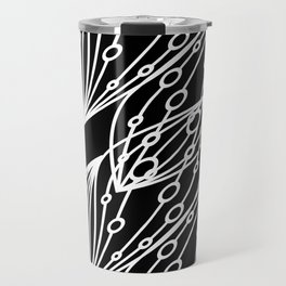 White molecular helix with diagonal circles on a black background. Travel Mug
