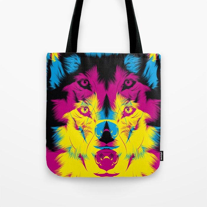 Wolf CMYK Tote Bag