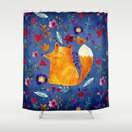The Smart Fox in Flower Garden Shower Curtain