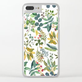 Leafy Pattern Clear iPhone Case