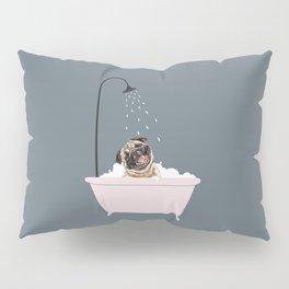 Laughing Pug Enjoying Bubble Bath Pillow Sham