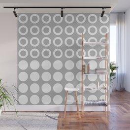 Mid Century Modern Circles And Dots Grey Wall Mural