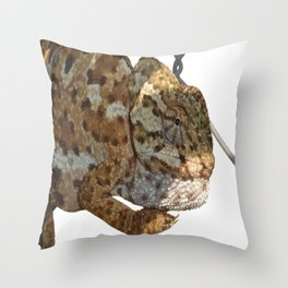 Chameleon Hanging On A Wire Fence Vector Throw Pillow