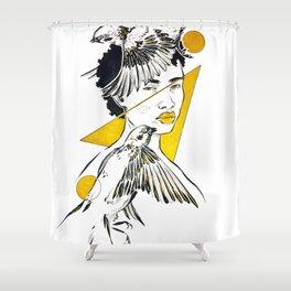 Inktober - Sparrows Shower Curtain