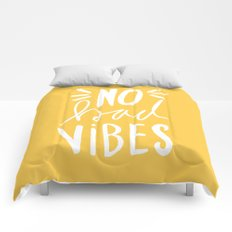 No Bad vibes hand lettered typography - Yellow Comforters